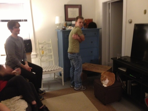 Fellow Boston-area improvisors playing a scene in my apartment, which we got together to (drink and) do one Friday night. Because we're awesome. I wish I had better pictures for this series.